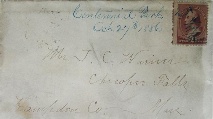 John Warner October 24, 1886 Envelope